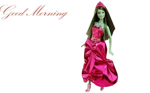 Good Morning With Cute Barbie Doll-wm124