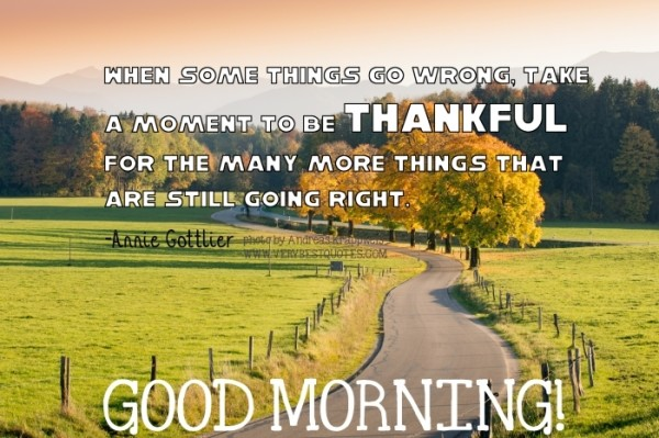 Thankful Good Morning Quote With Picture